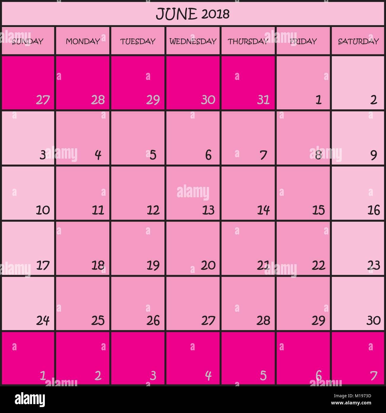 Calendario Mese Giugno.Pianificatore Di Calendario Mese Giugno 2018 Su Sfondo