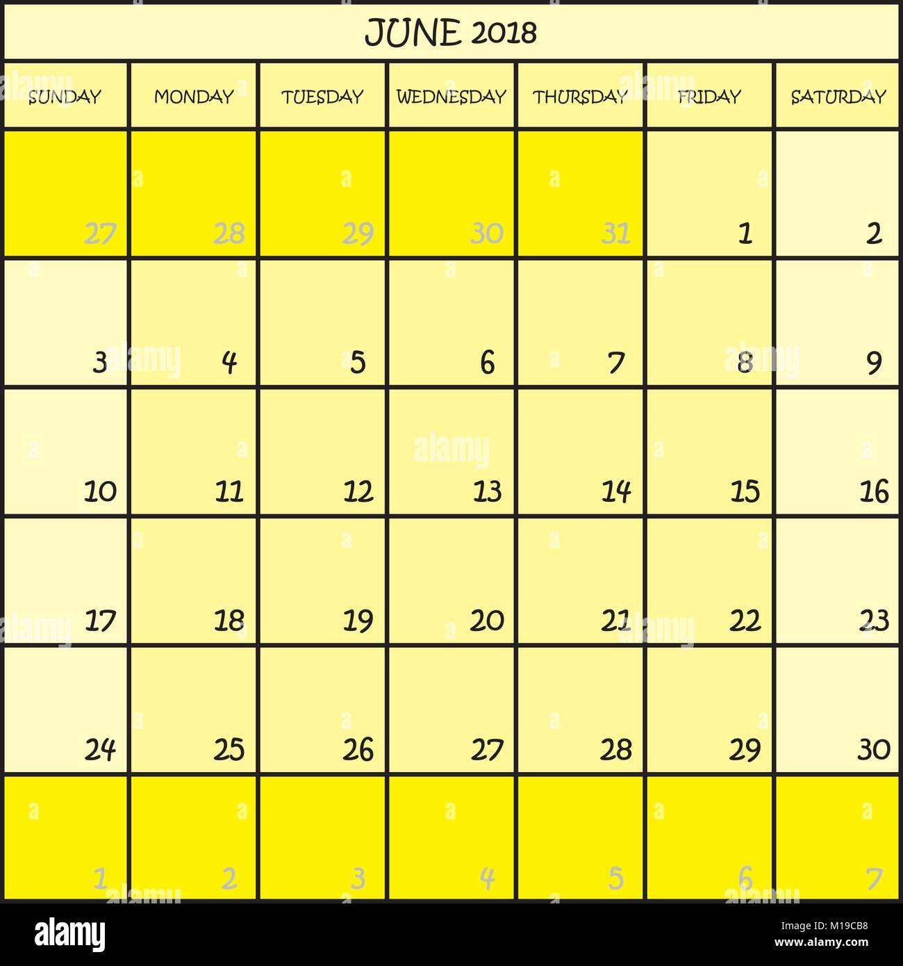 Calendario Mese Giugno.Pianificatore Di Calendario Mese Giugno 2018 In Tre Tonalita