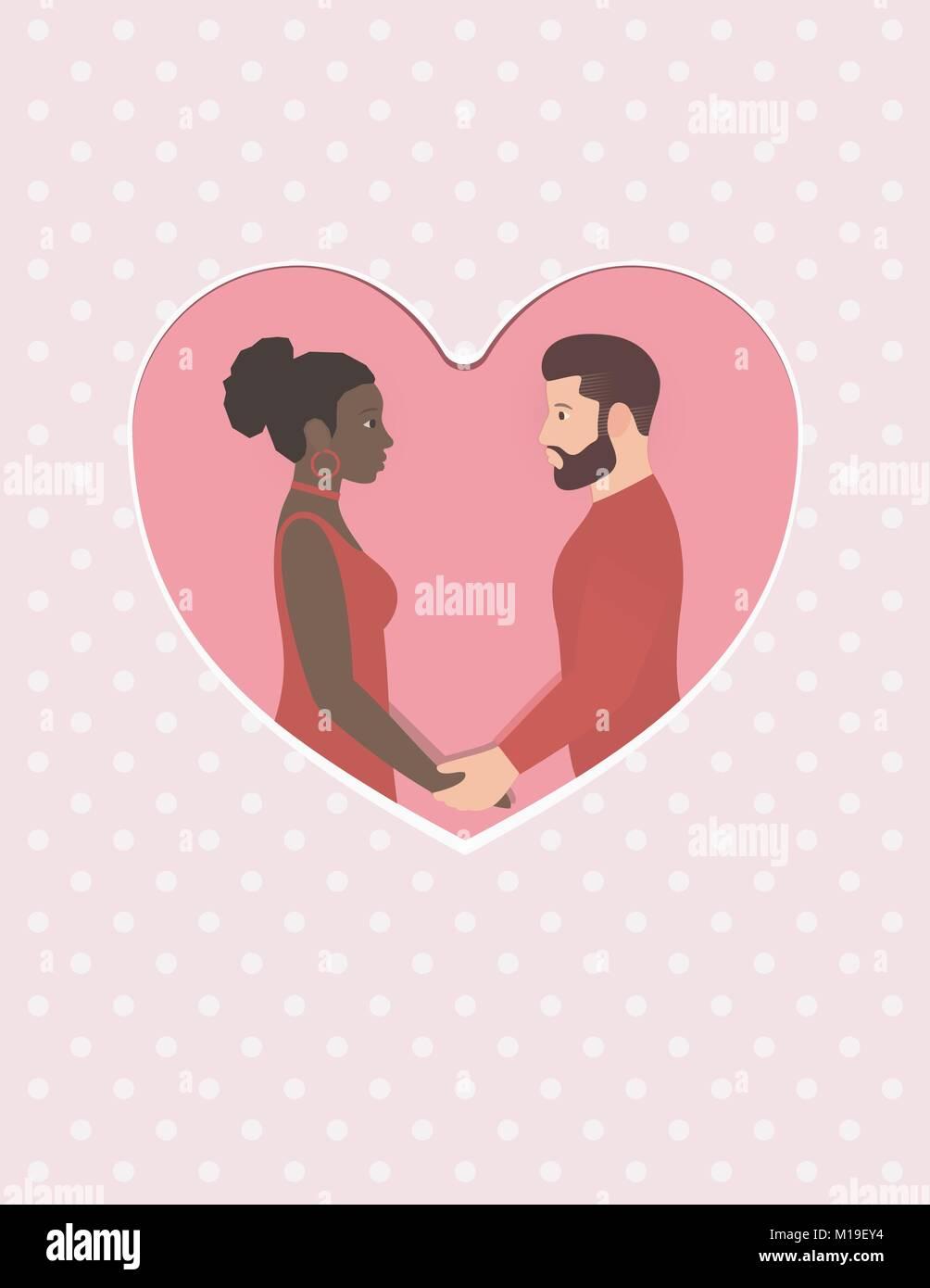 Auguri Matrimonio Uomo : Barbuto uomo bianco e bellissimo afro american donna felice