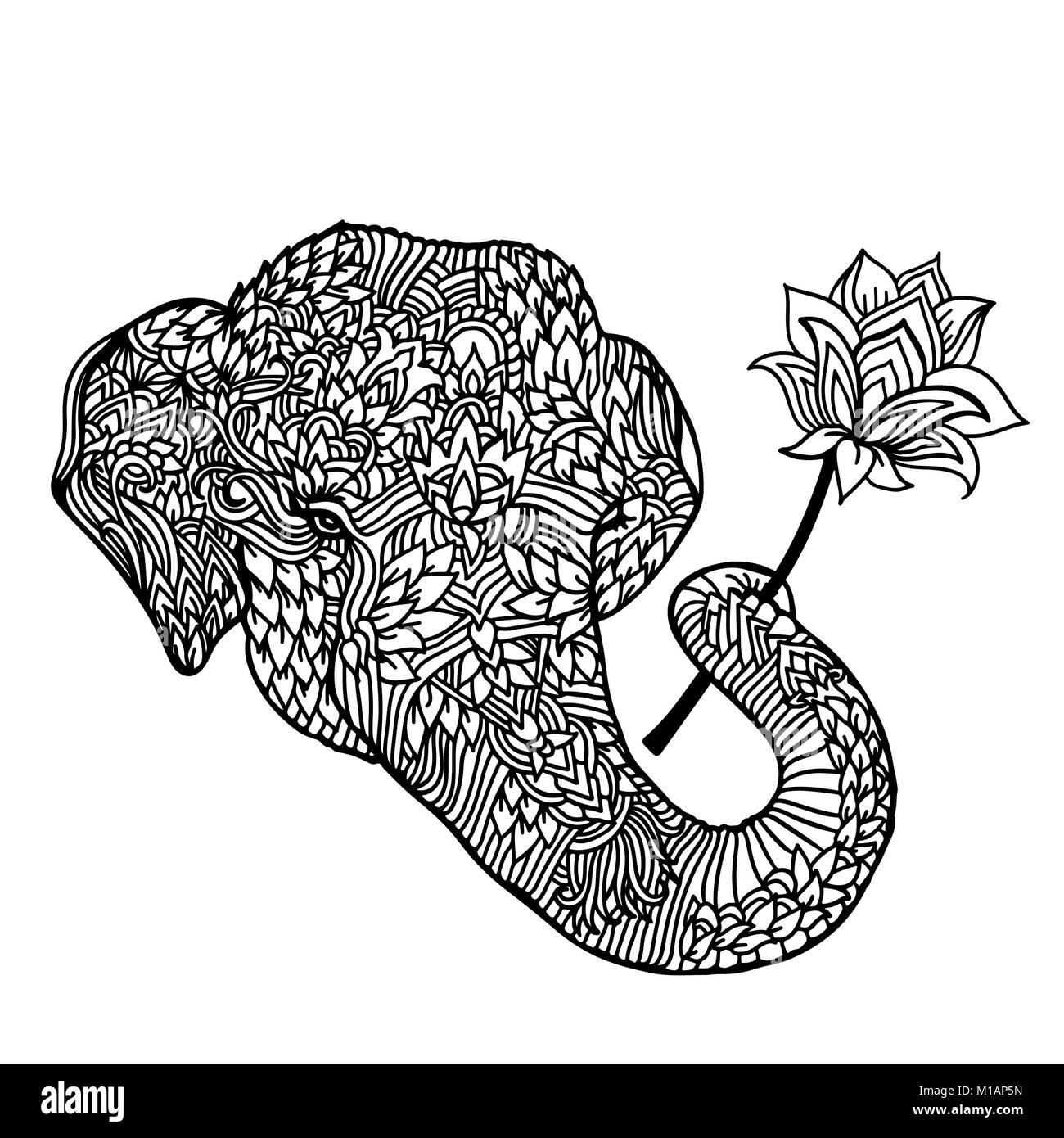 Ritratto Di Un Elefante Con Un Fiore Di Loto In Stile Asiatico