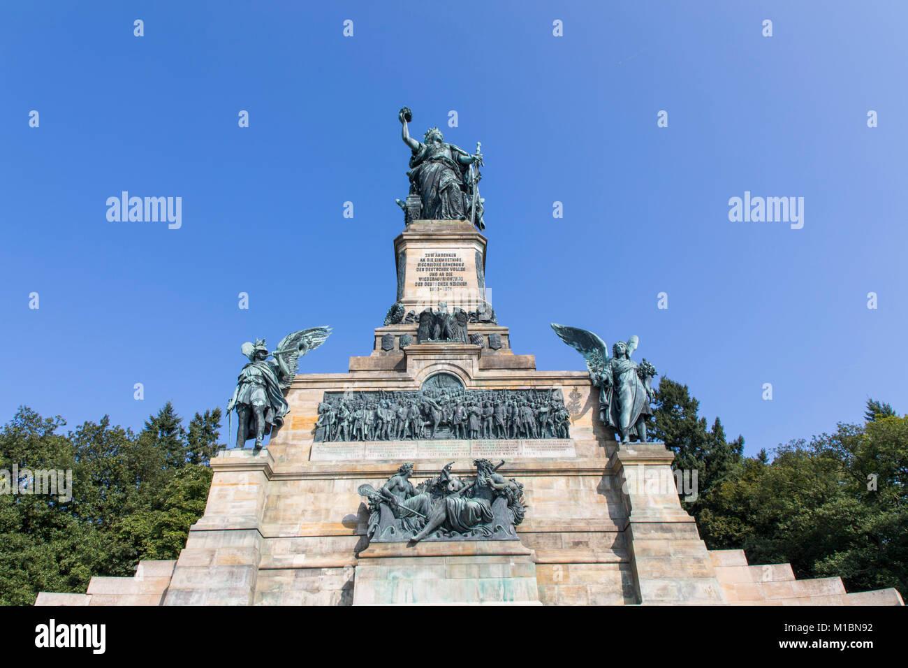 Monumento Niederwald, Germania statua, parte del Patrimonio Mondiale UNESCO Valle del Reno superiore e centrale, Immagini Stock