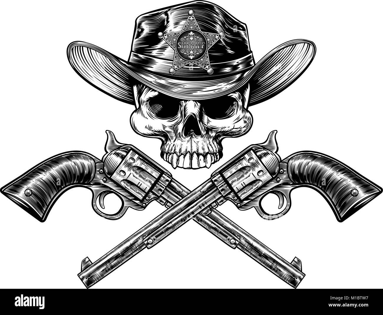 Sheriff Badge Star cappello da cowboy cranio e pistole Immagini Stock fbfd91c33e6c