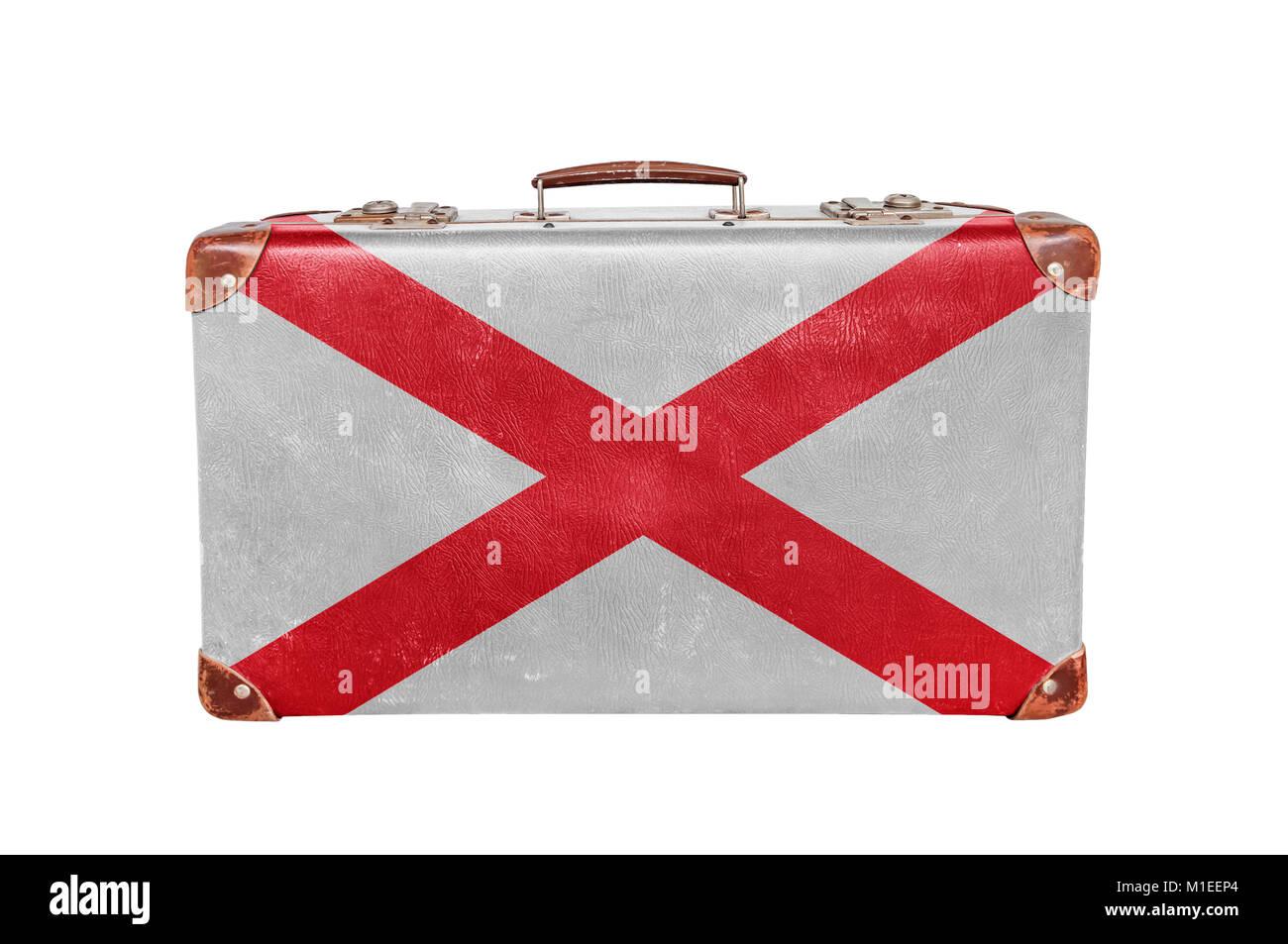 a9be34cfadcb92 Vintage valigia con Stati Uniti Alabama bandiera Immagini Stock