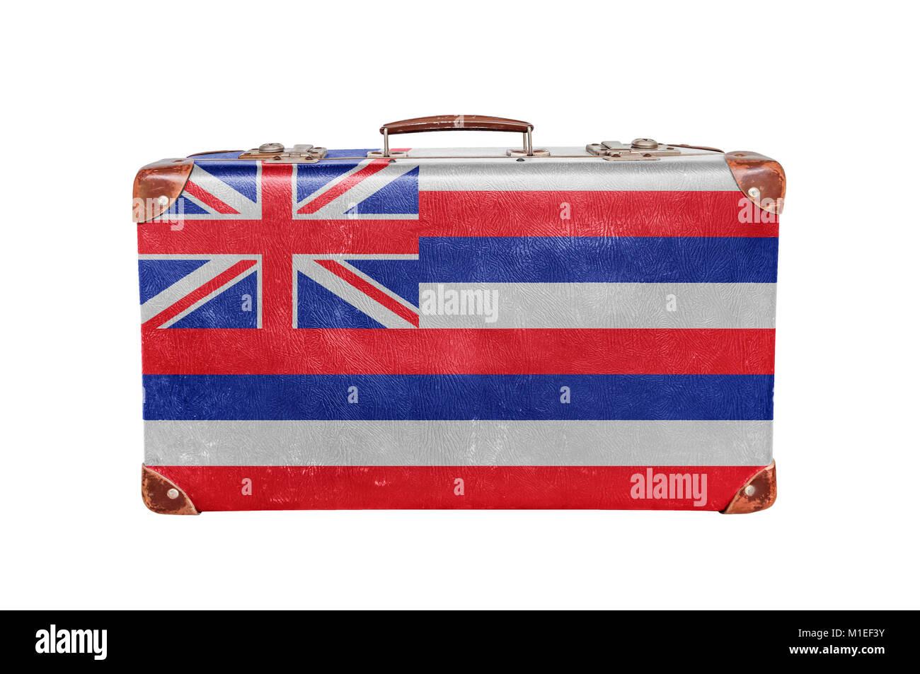 f89816290acc9a Vintage valigia con Stati Uniti Hawaii bandiera Immagini Stock