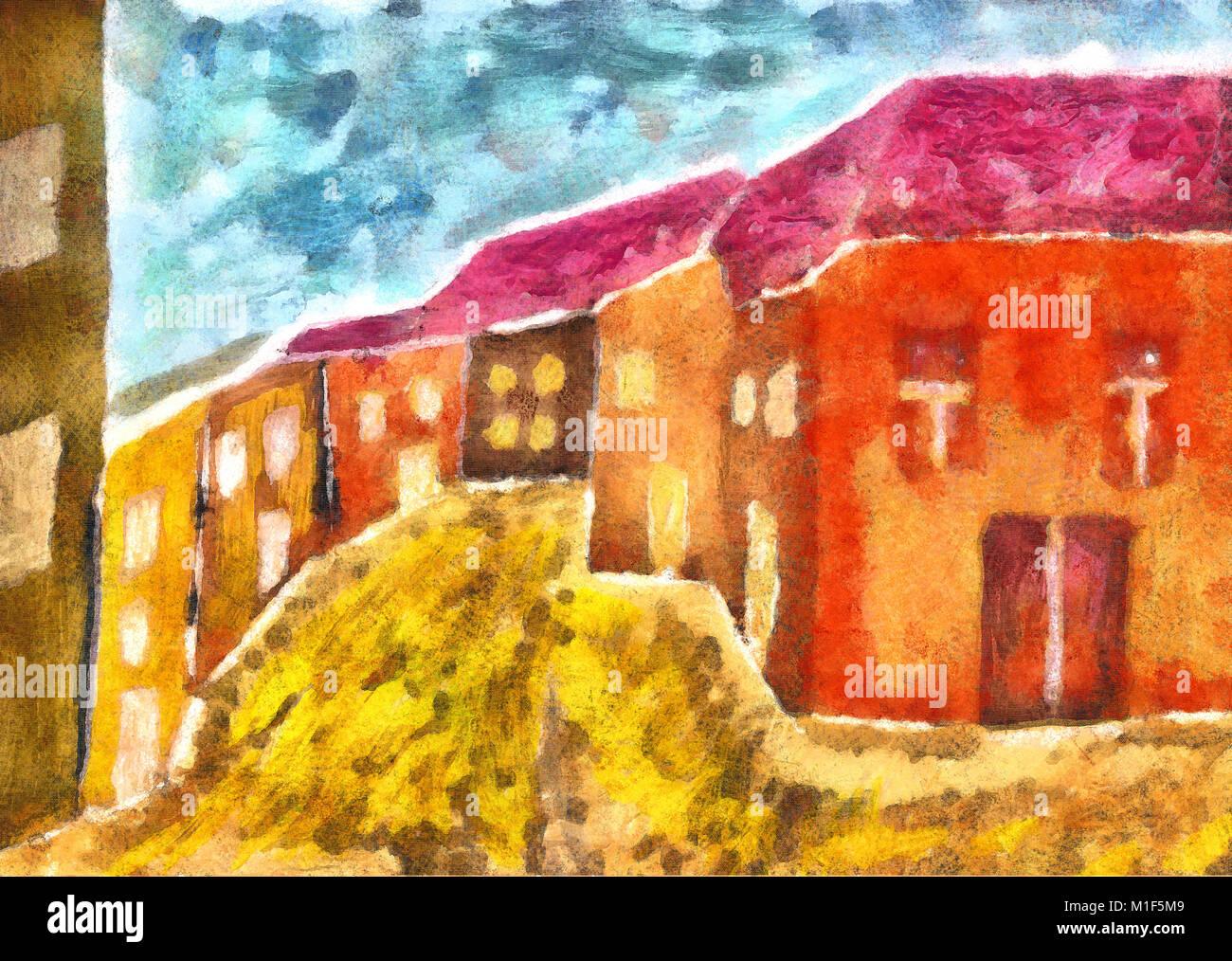 Elaborati digitalmente gouache picture case colorate Immagini Stock