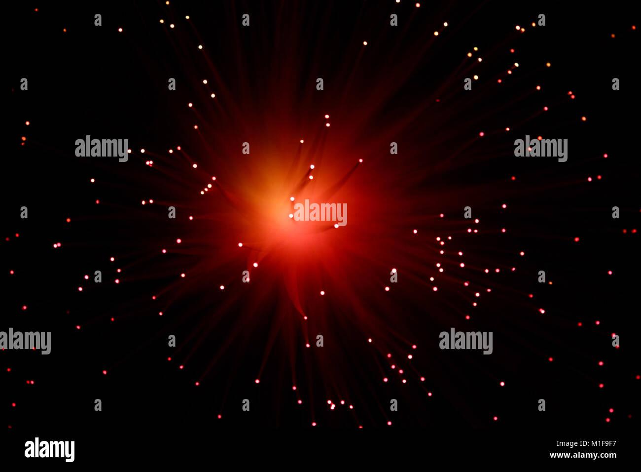 In fibra ottica astratta della lampada su sfondo nero Immagini Stock
