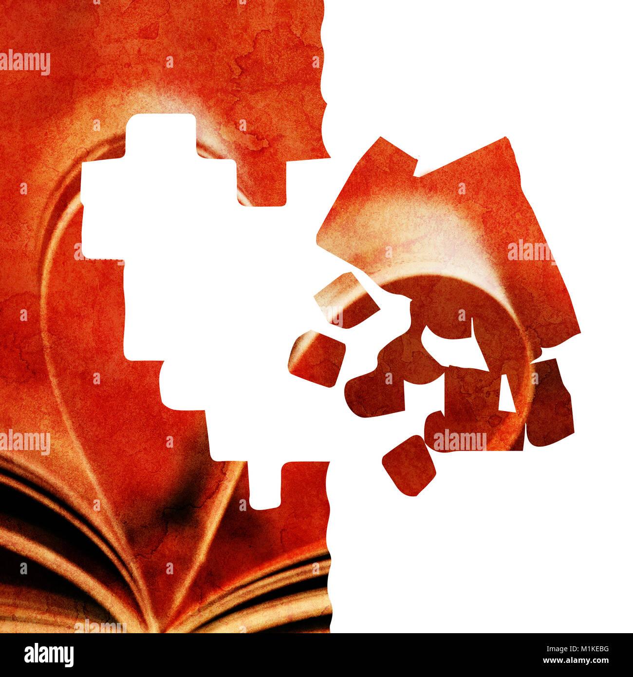 Grunge illustrazione astratta con molte forme di cuore Foto Stock