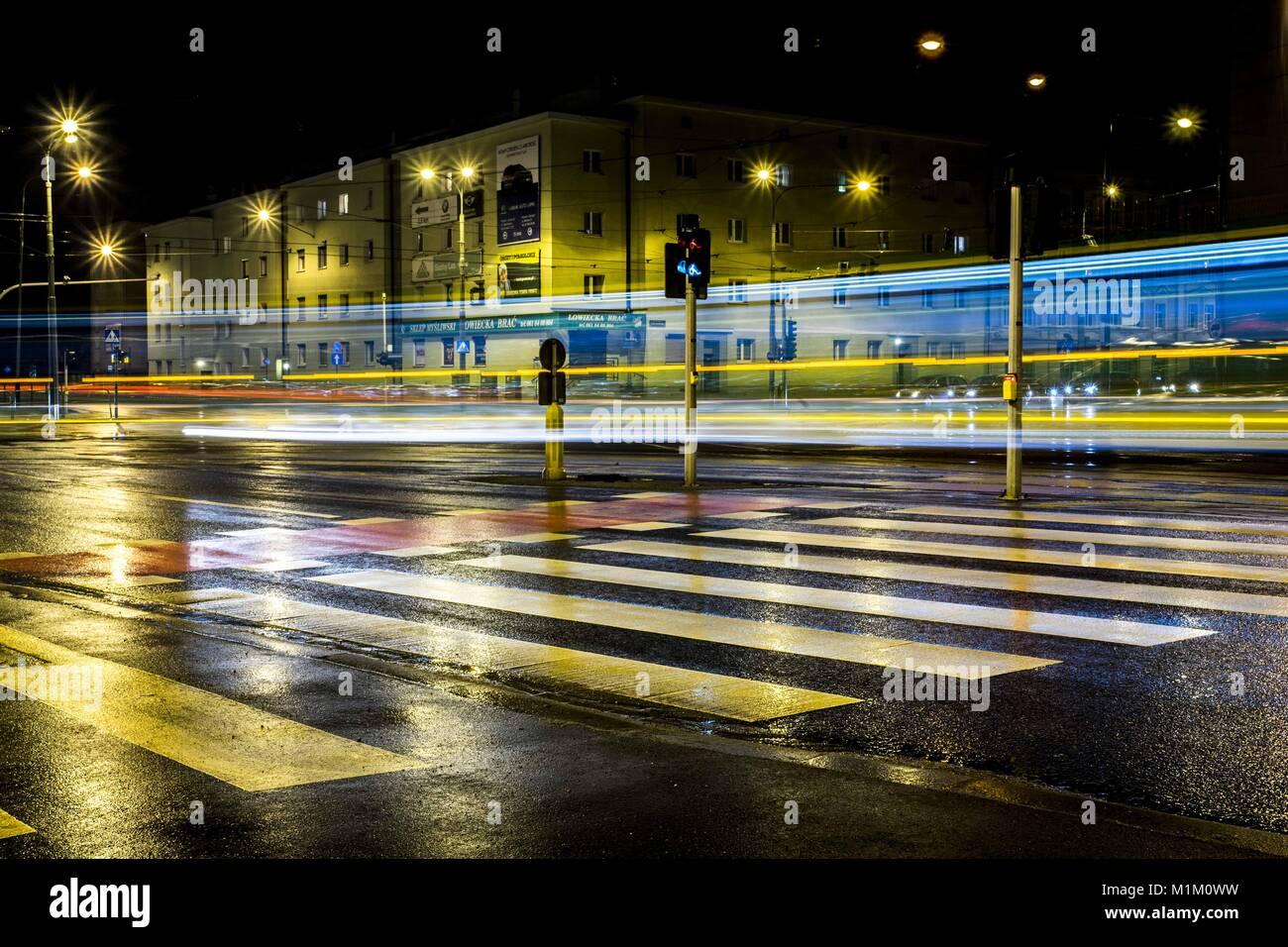 Poznan, Wielkopolska, Polonia. 31 gennaio, 2018. 31 gennaio 2018 - Poznan, Polonia - i paesaggi dipinti da le luci Foto Stock