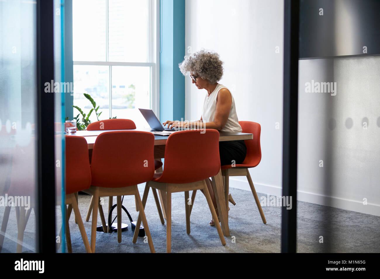 Donna di mezza età che lavorano da soli in office boardroom Immagini Stock