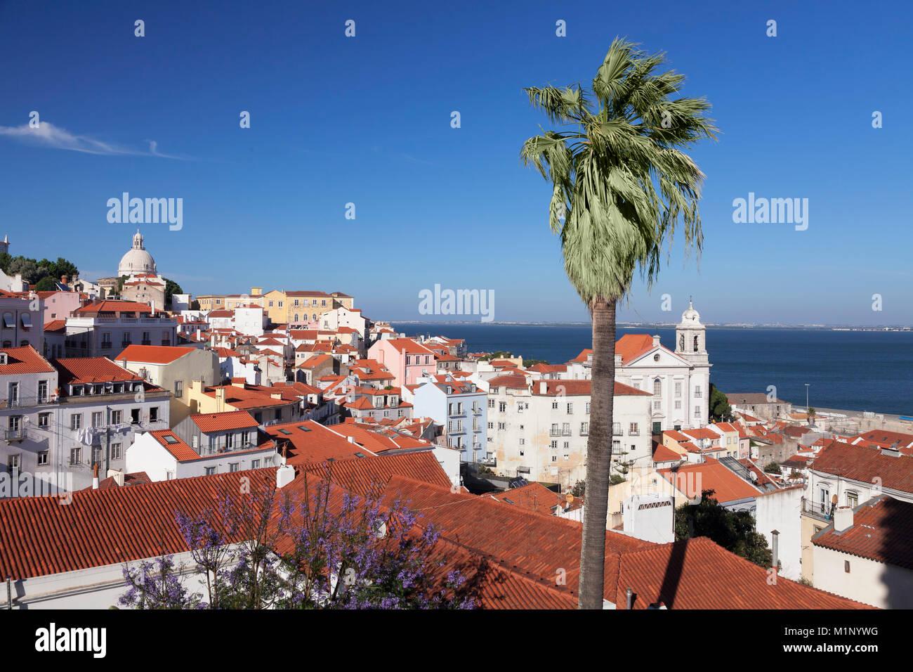 Vista da Santa Luzia viewpoint oltre il quartiere di Alfama al fiume Tejo, Lisbona, Portogallo, Europa Foto Stock