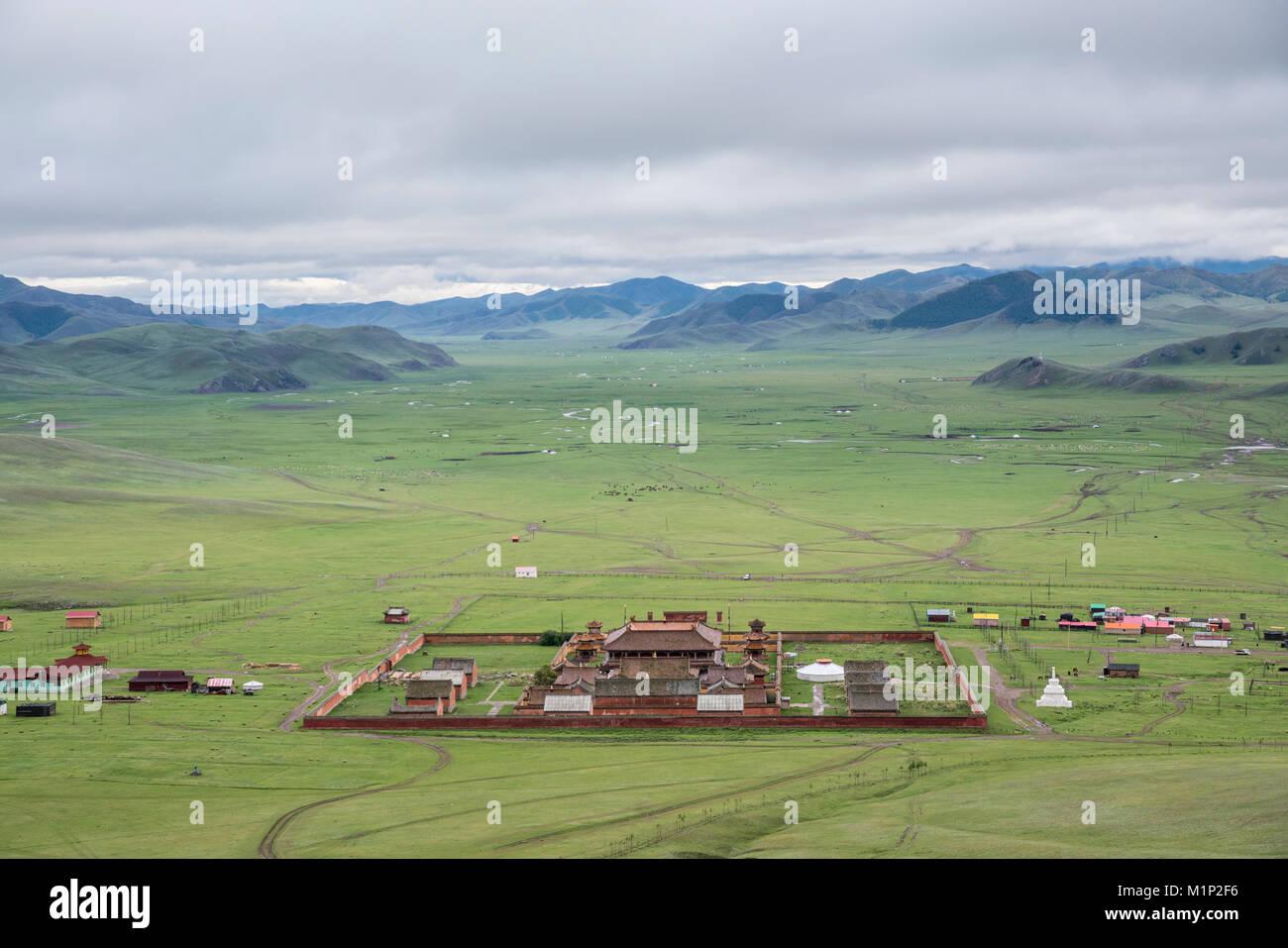 Vista del monastero di Amarbayasgalant dal di sopra, il Monte Buren-Khaan, Baruunburen distretto, Selenge provincia, Immagini Stock