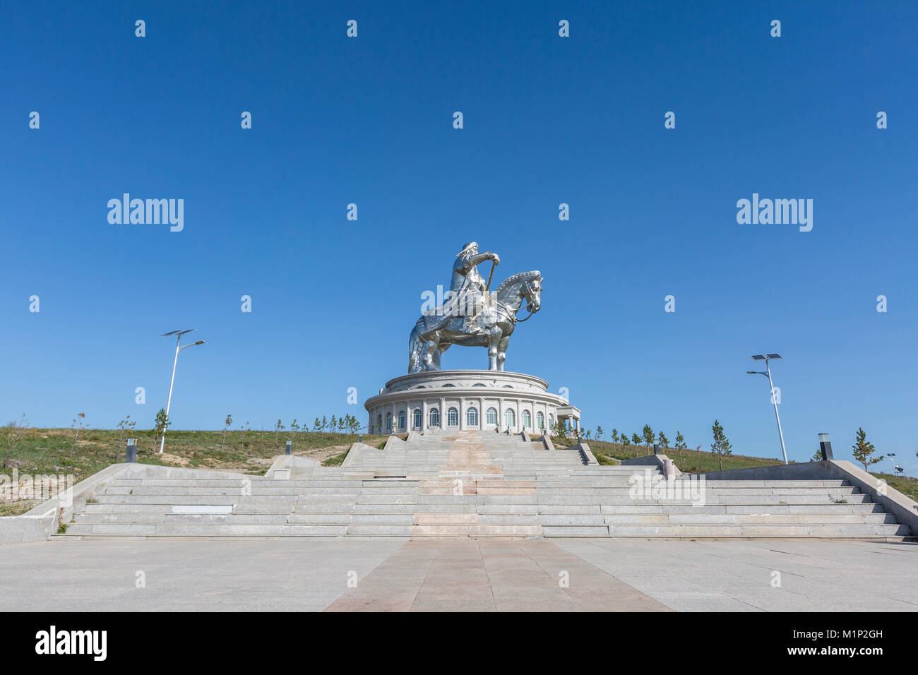 Scale di Gengis Khan statua complessa, Erdene, Tov provincia, Mongolia, Asia Centrale, Asia Immagini Stock