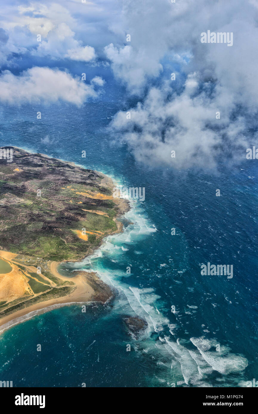 Vista aerea del litorale nord di Sydney, Nuovo Galles del Sud, NSW, Australia Immagini Stock