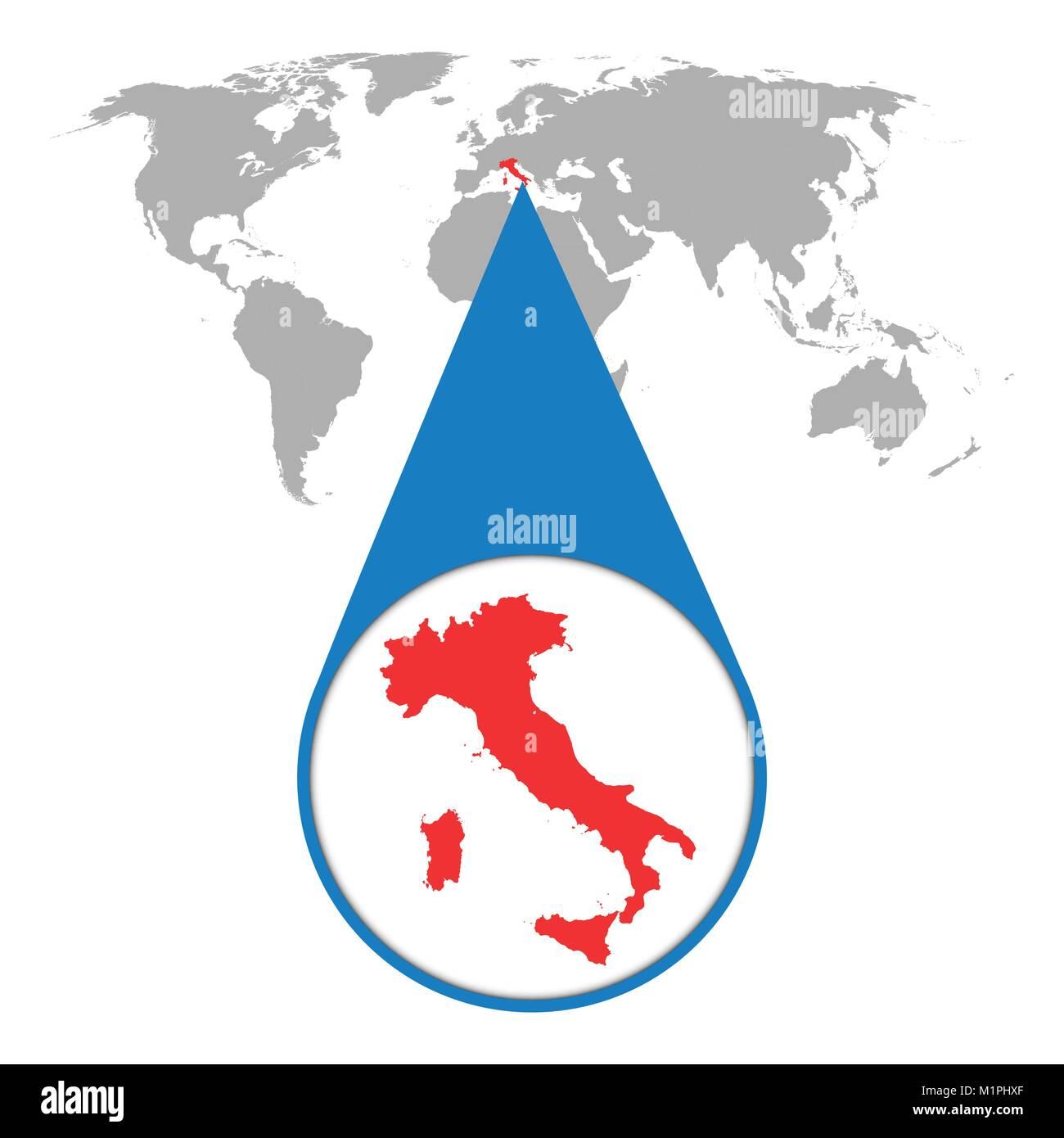 Cartina Politica Italia Zoom.Mappa Del Mondo Con Lo Zoom Sull Italia Mappa Nella Lente Di Ingrandimento Illustrazione Vettoriale In Stile Piatto Immagine E Vettoriale Alamy