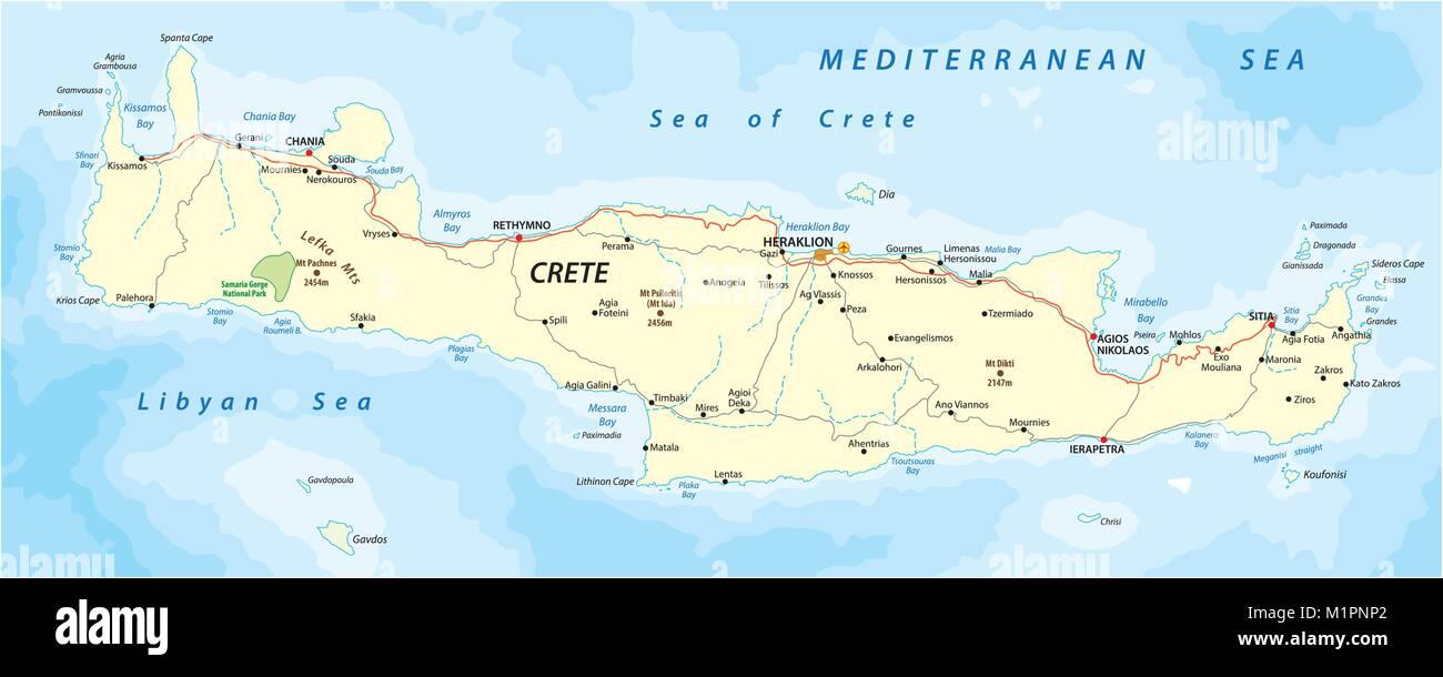 Cartina Geografica Dell Isola Di Creta.Vettore Di Mappa Stradale Di Greco Isola Mediterranea Di Creta Immagine E Vettoriale Alamy