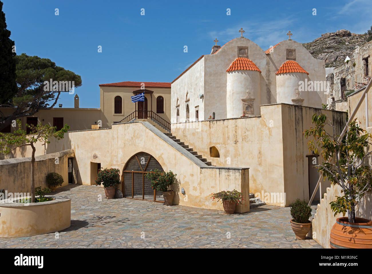 Monastero di Preveli, Comune di Agios Vasilios, Creta, Grecia monastero Moni Preveli Monastero, monaco, Piso, Kloster Immagini Stock