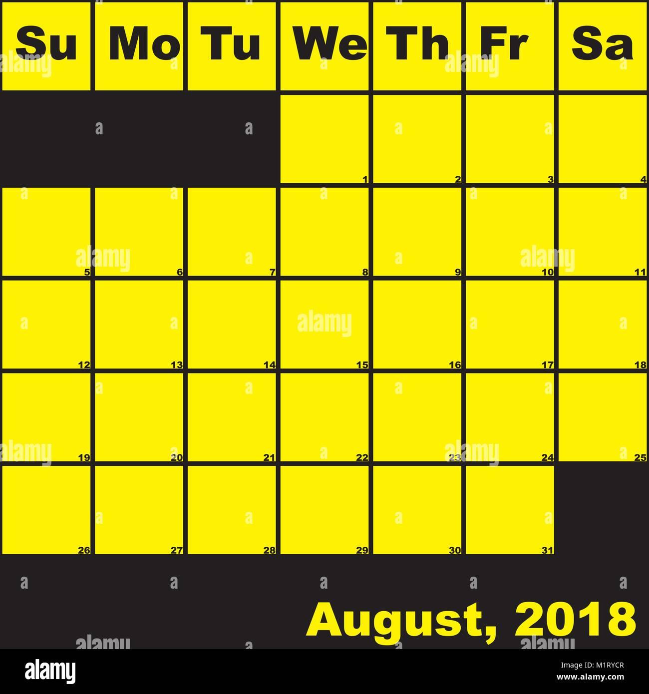 Calendario Con Note.2018 Agosto Giallo Su Nero Planner Il Calendario Con Un