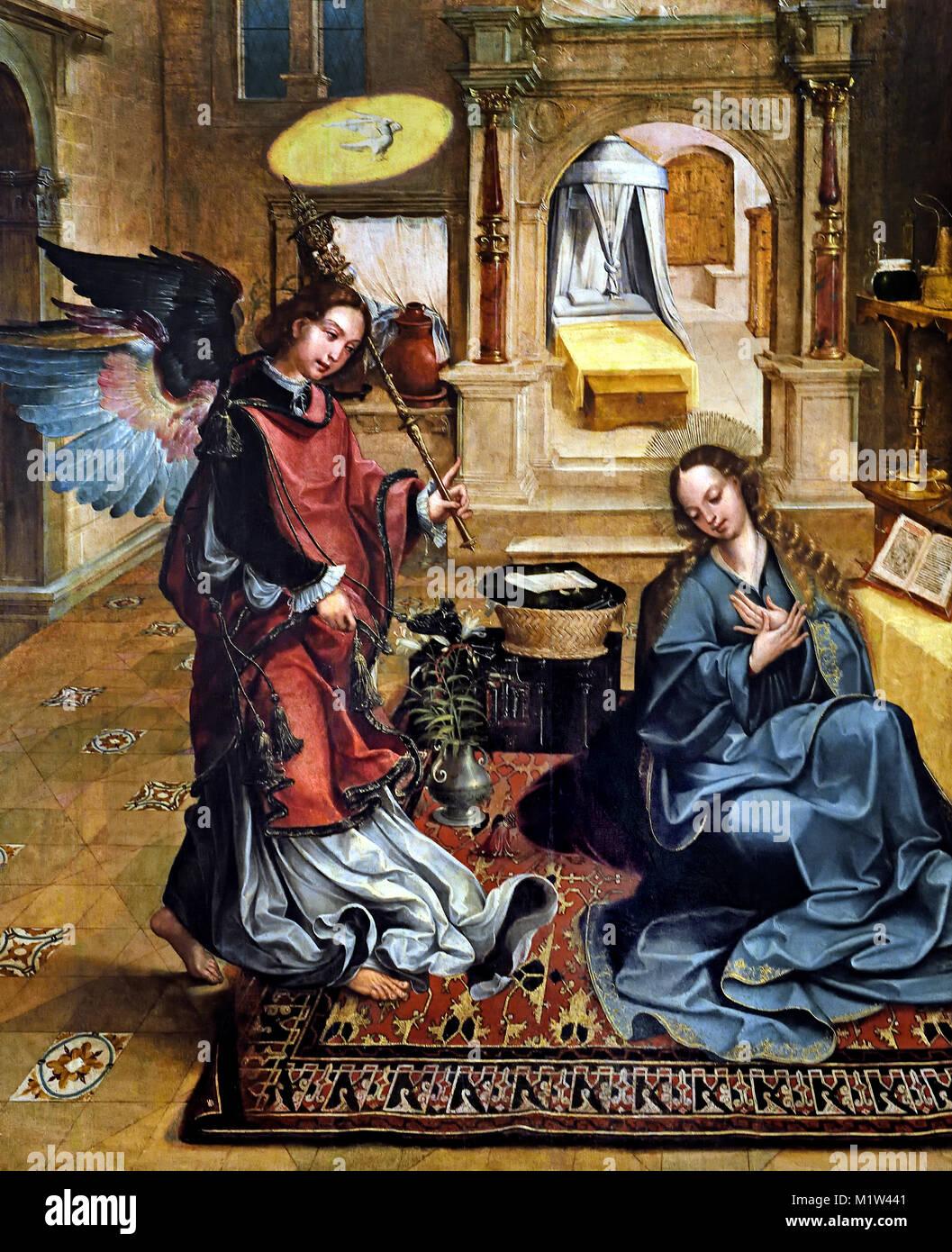 Annunciazione 1539-41pala d altare di Santos o Novo ( monastero di Santo o Novo ) 1540-1545 Gregrorio de Lopes 1513 Foto Stock