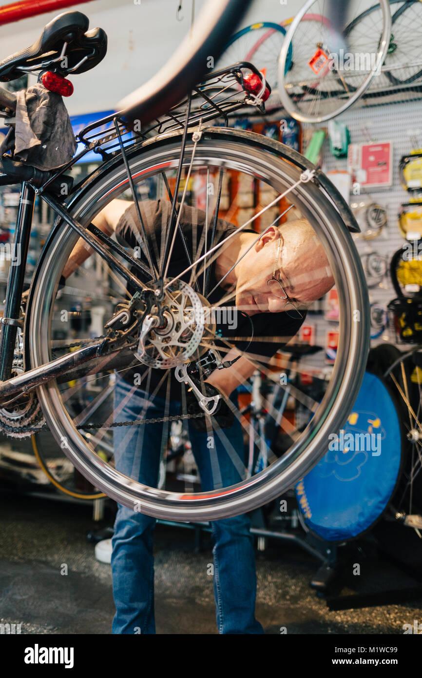 Small business proprietario del negozio di biciclette Immagini Stock