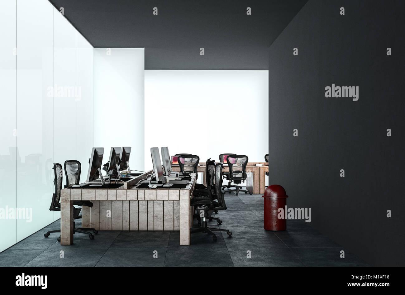 Tavolo Di Ufficio : Ufficio moderno con più postazioni di lavoro con scrivania