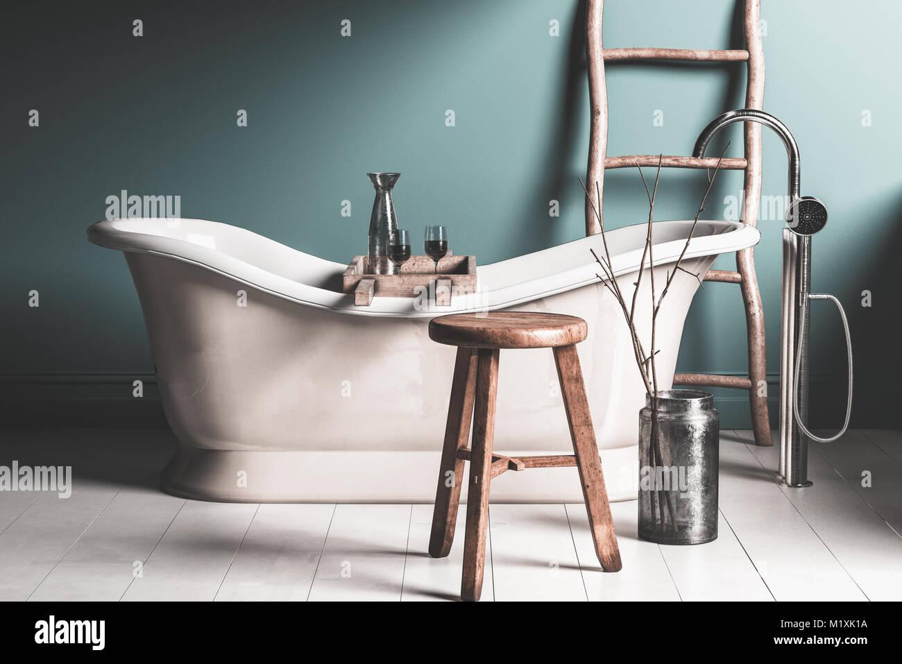 Vasca Da Bagno Espanol : Il vecchio roll top stile chateau vasca da bagno in una rustica sala