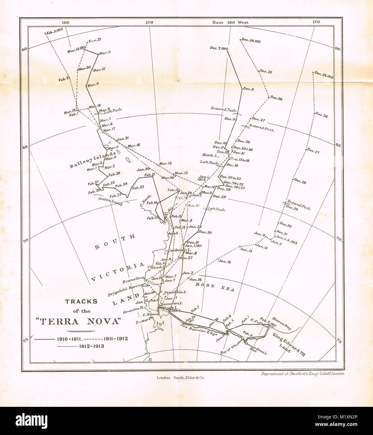 Le vie della Terra Nova, Polar Expedition nave, British Antarctic Expedition 1910-13, Scott spedizione finale Immagini Stock