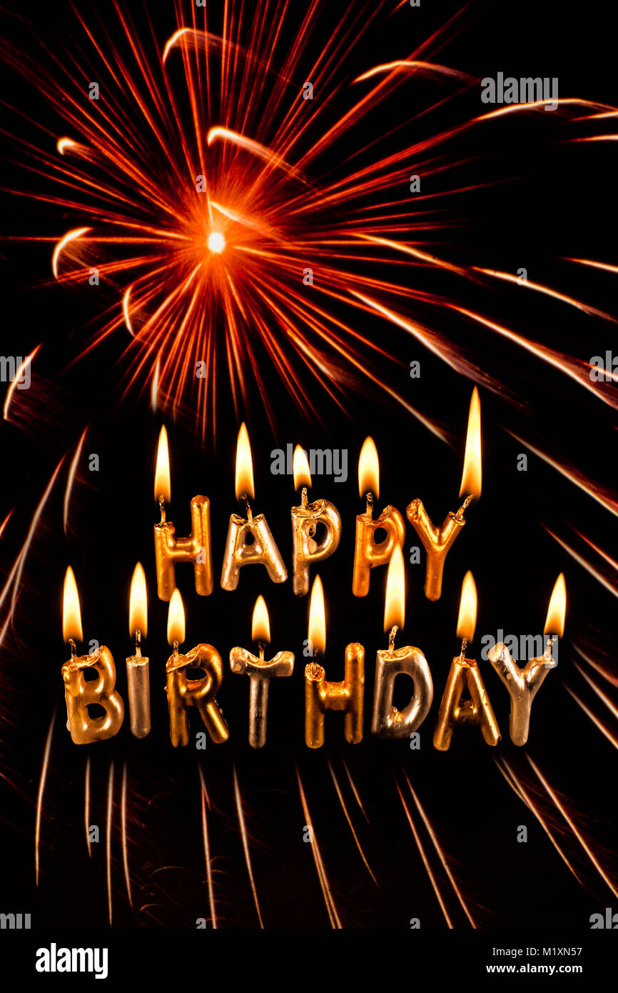 Buon Compleanno Card Con Fuochi Dartificio Burst Foto Immagine