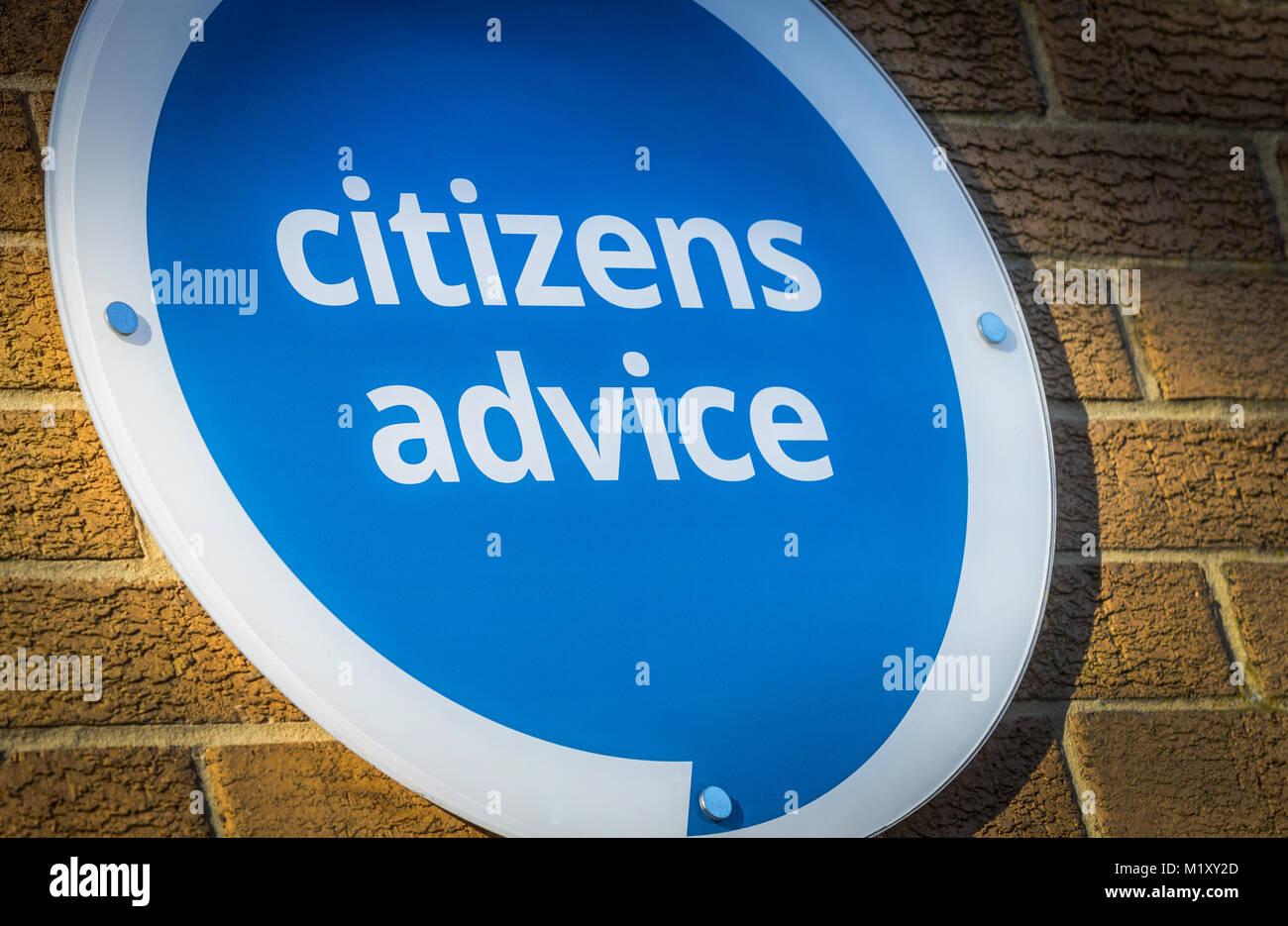 Citizens Advice Centre segno NEL REGNO UNITO Immagini Stock