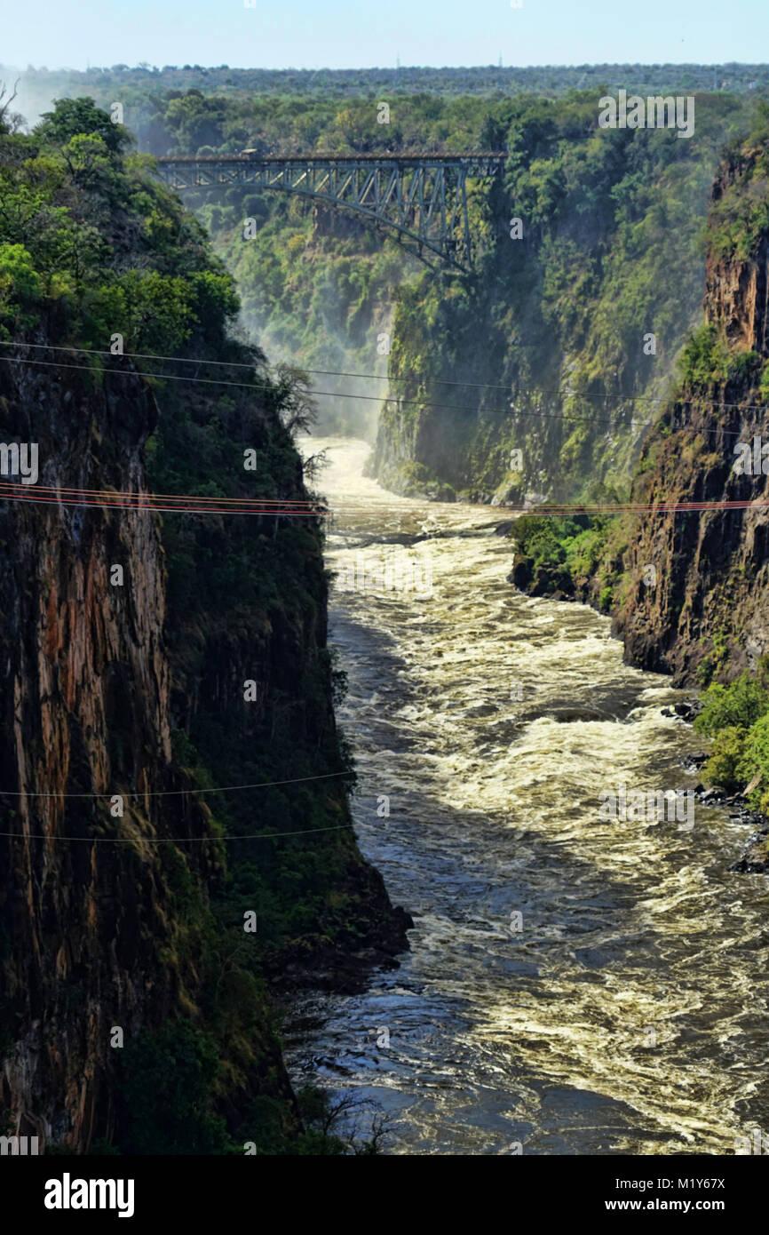 Vedute aeree di Victoria Falls, Zimbabwe Africa Immagini Stock