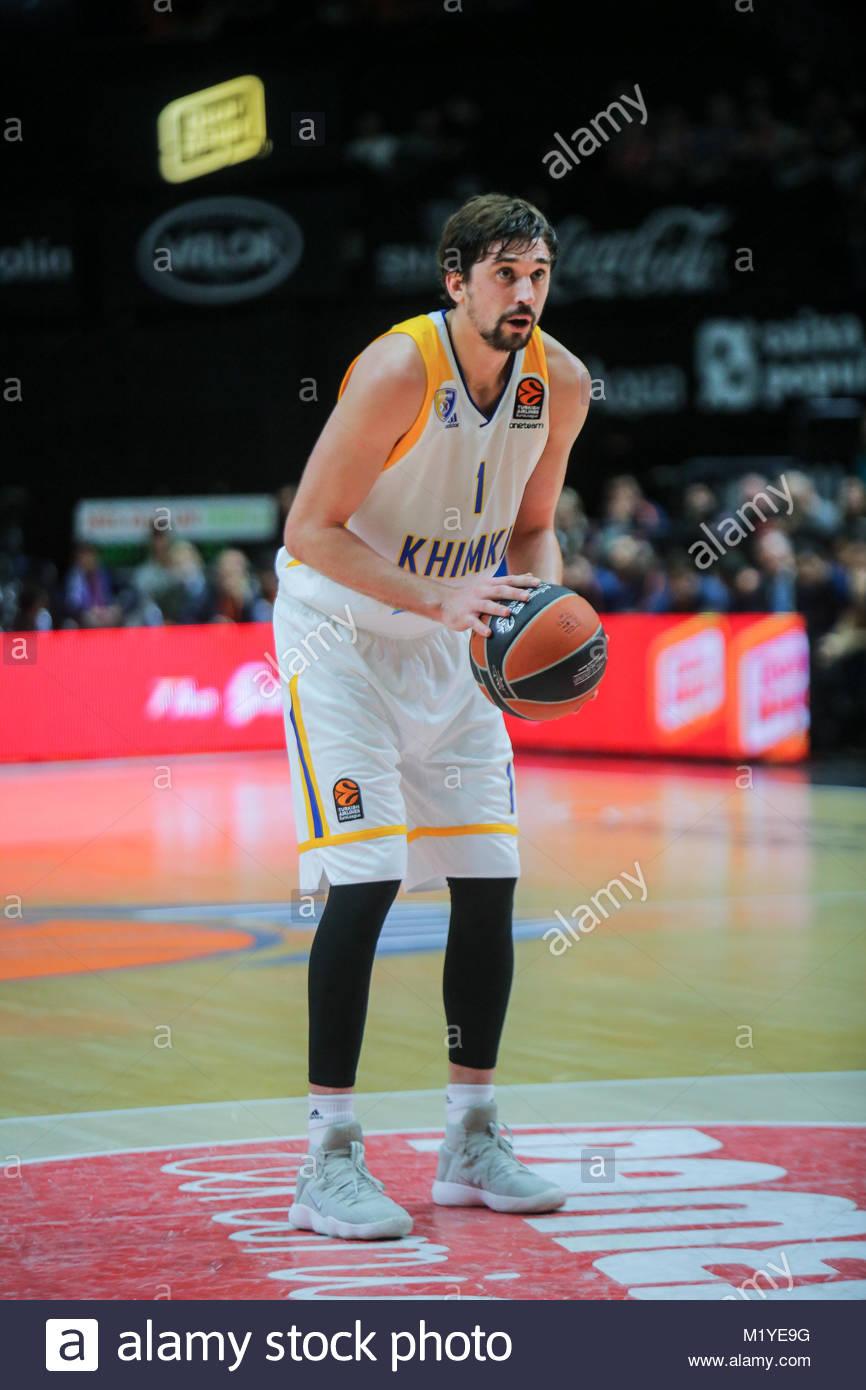 Euroleague corrispondono a Valencia Basket vs Basket Club Khimki in Font de Sant Lluis arena, Valencia, Spagna Immagini Stock