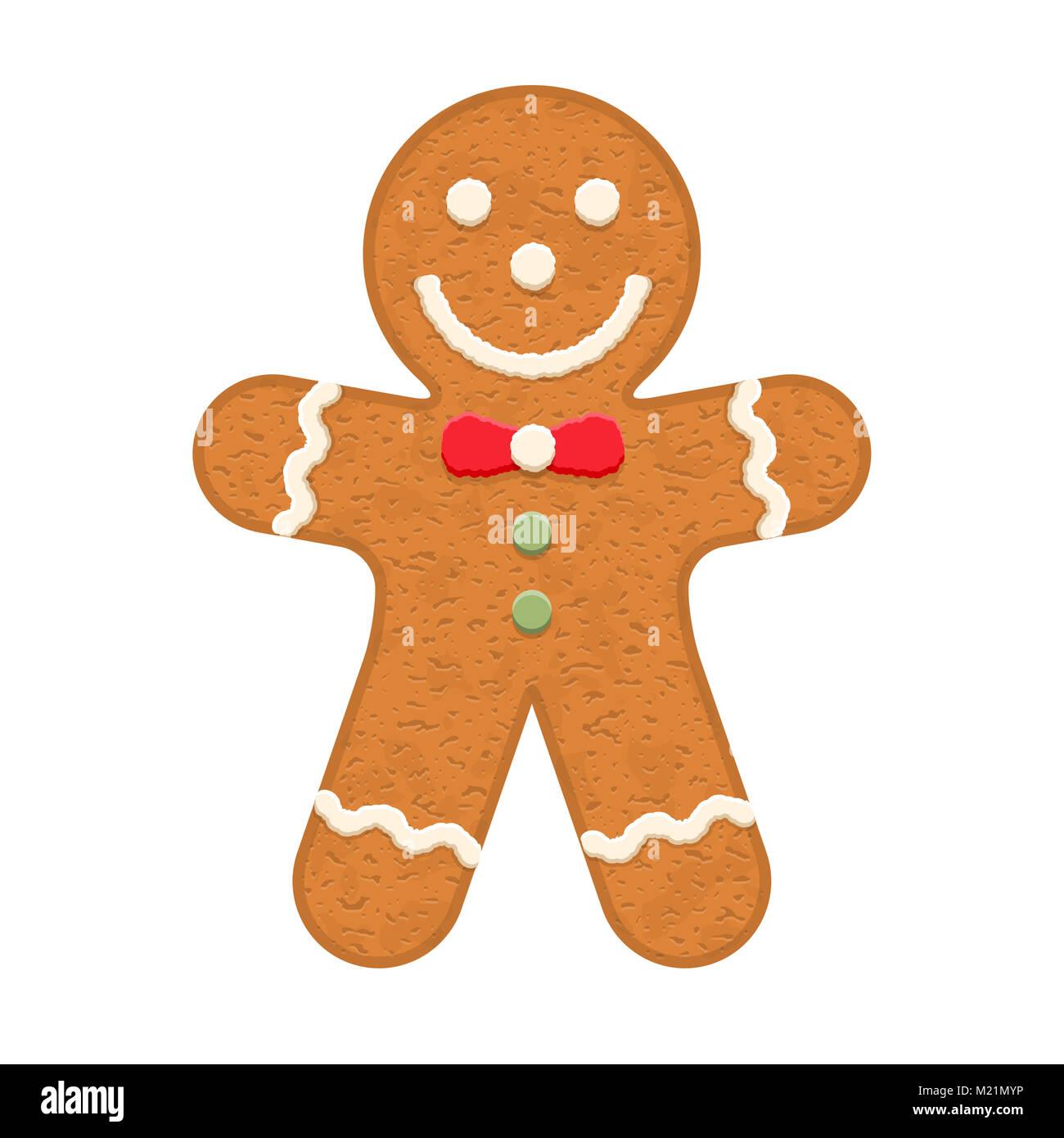 Gingerbread Man, tradizionali biscotti di Natale, vettoriale EPS10 illustrazione Immagini Stock