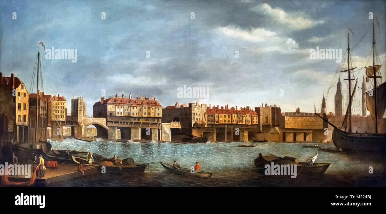 Il vecchio ponte di Londra da Southwark dopo Samuel Scott (1702-1772), olio su tela, metà 1700s. Il dipinto mostra Foto Stock