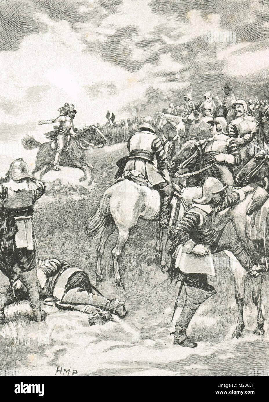 Charles I, cercando di rally il suo esercito Battaglia di Naseby, 14 giugno 1645 Immagini Stock