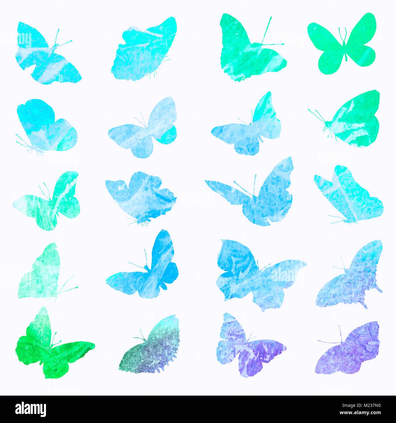 Sagome Di Farfalle In Acquerello Disegni Di Isolato Di Un Animale