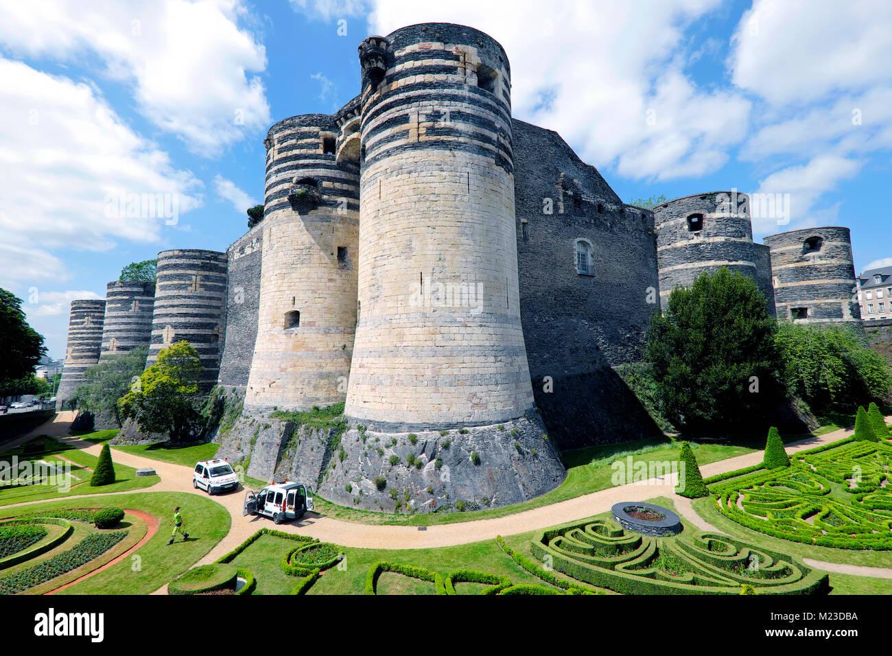 Giardiniere, Château d'Angers Castle, Angers, Pays de la Loire, Francia Immagini Stock