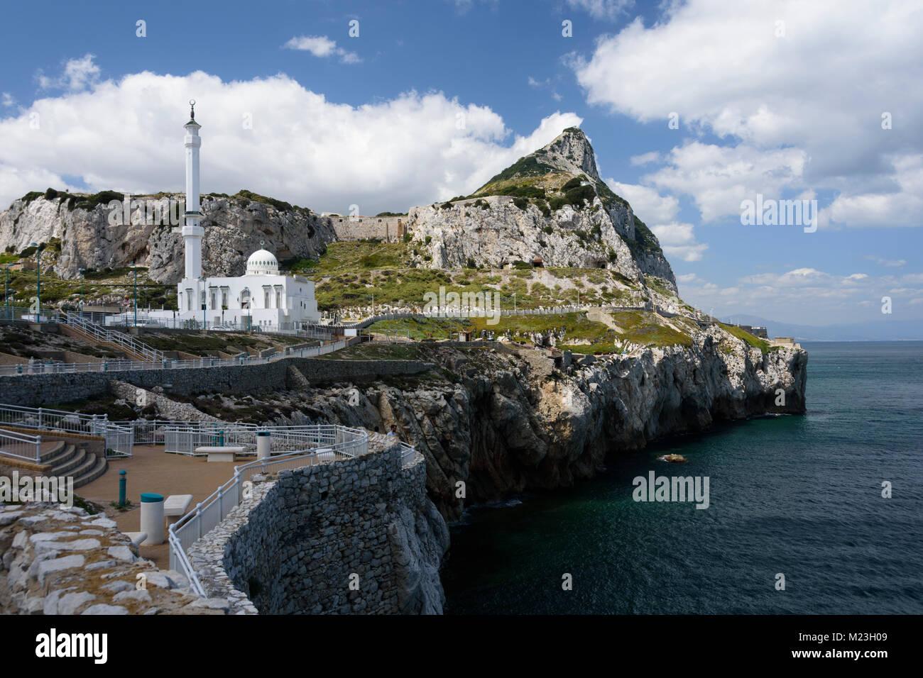 Gibilterra, Ibrahim - al- la moschea di Ibrahim sul punto di Europa. La punta meridionale dell'Europa. Immagini Stock