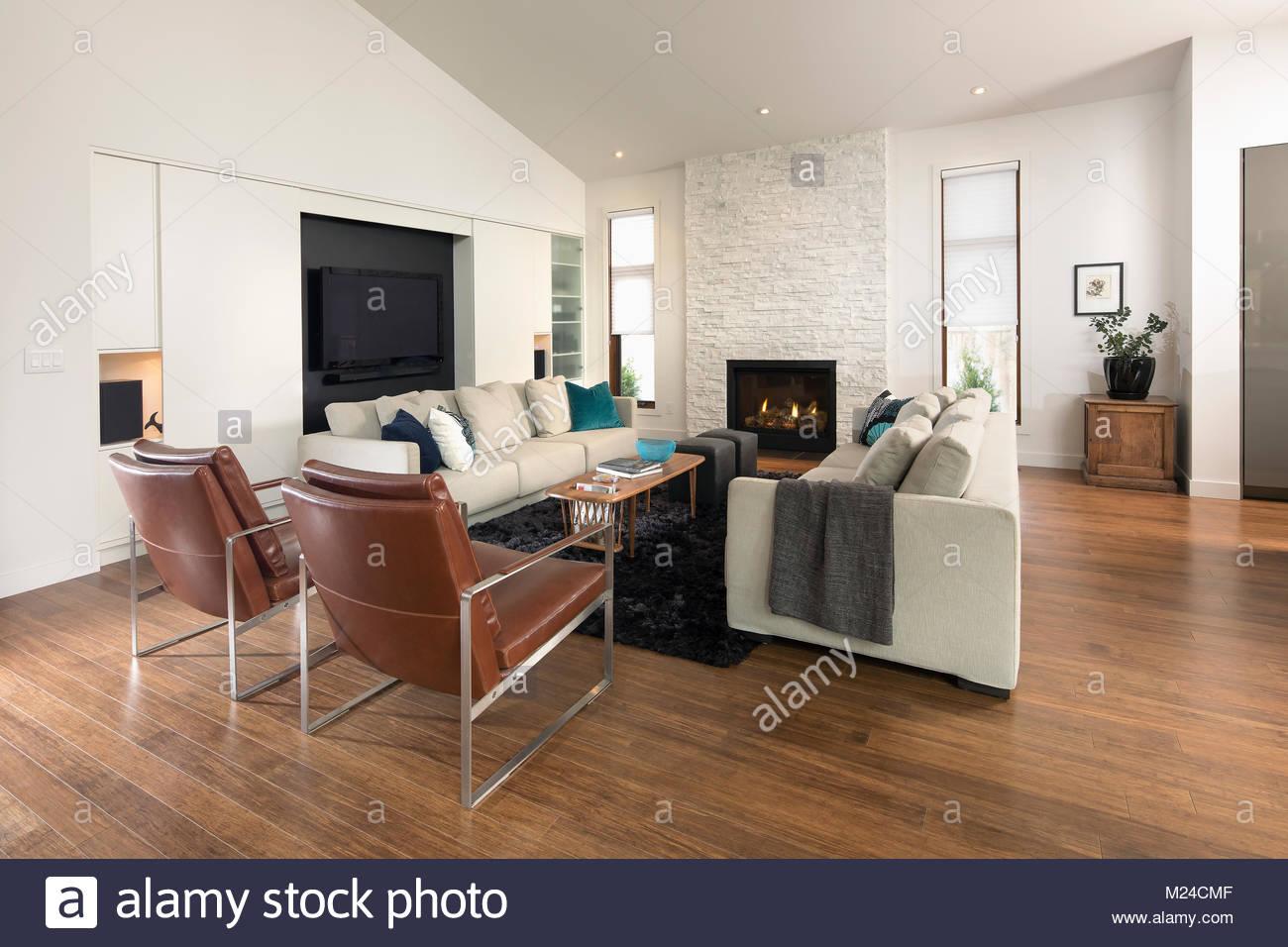 Home vetrina soggiorno con camino foto immagine stock