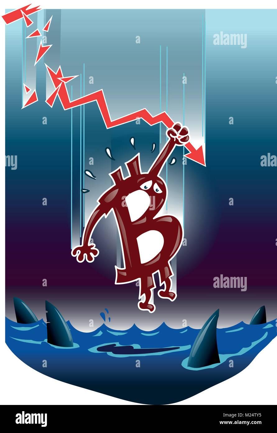 Simbolo bitcoin cadere nell'acqua scura cartoon divertenti vignette Immagini Stock