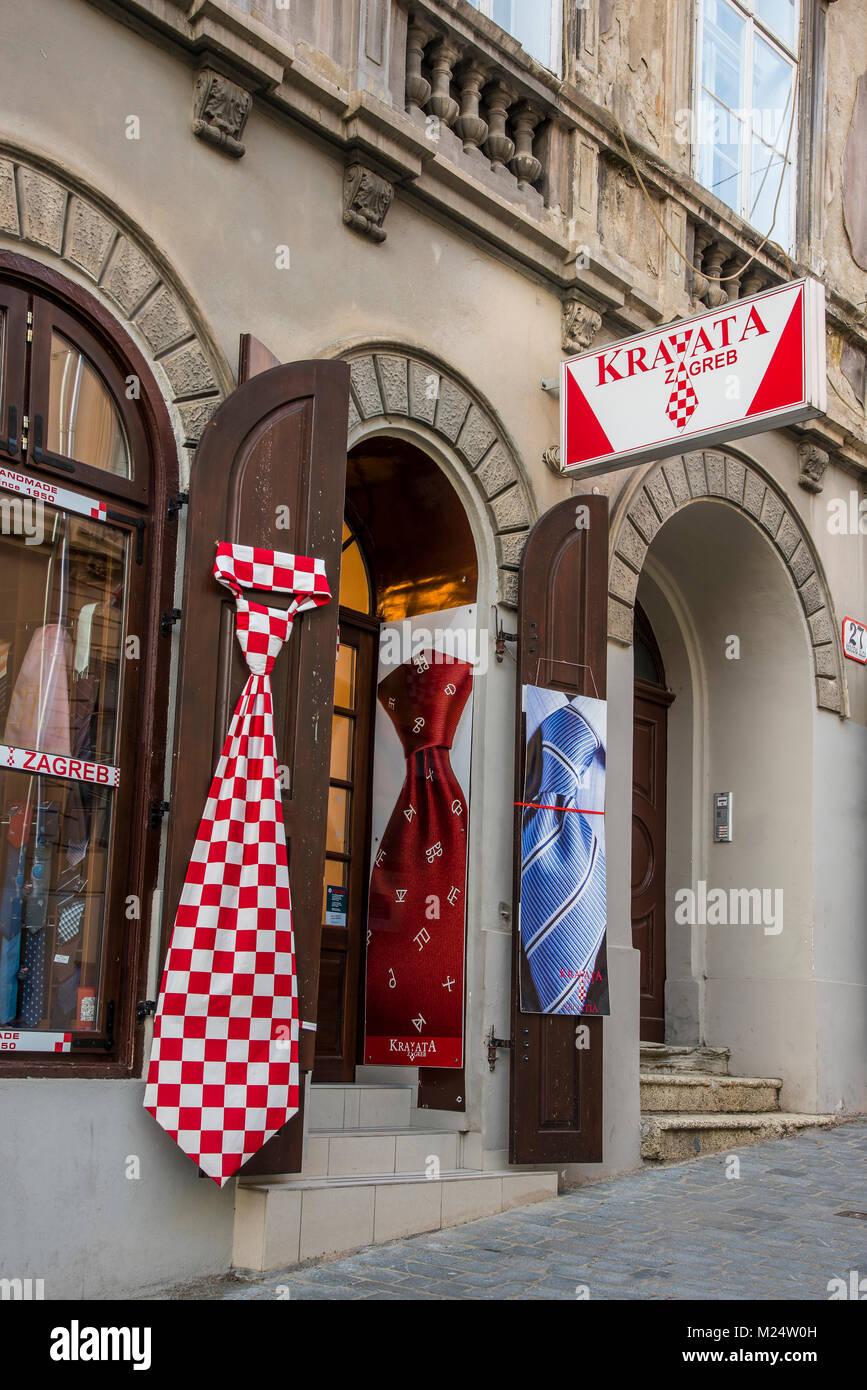 Cravatta Kravata shop a Zagabria in Croazia. La Croazia è la patria della prima cravatta come esso proviene Immagini Stock