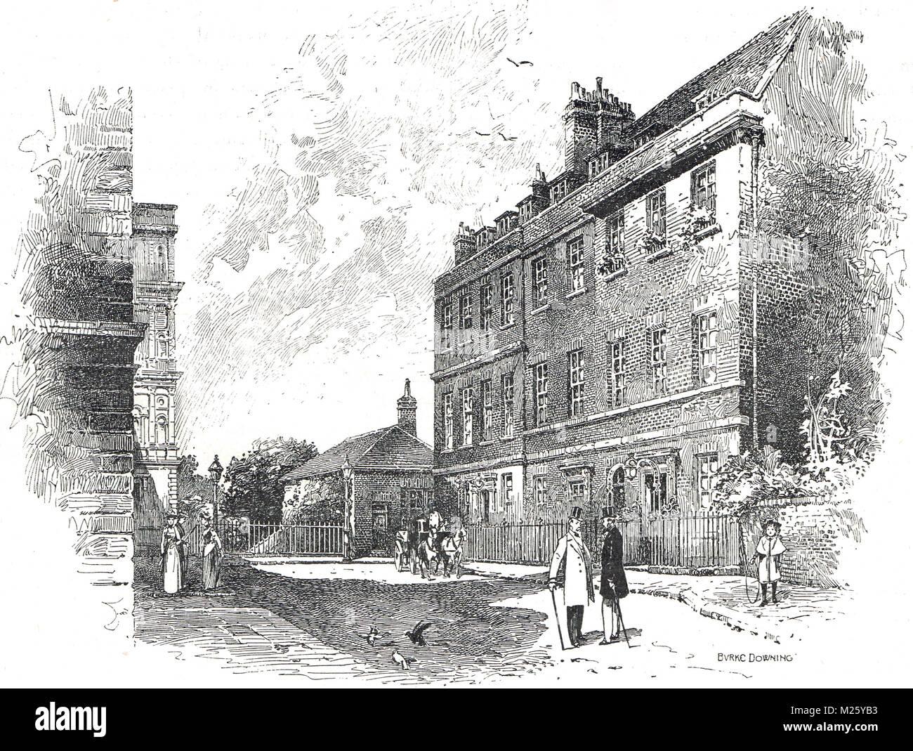 10 Downing St, Londra, Inghilterra, a metà del XIX secolo. Residenza ufficiale del primo signore del Ministero Immagini Stock