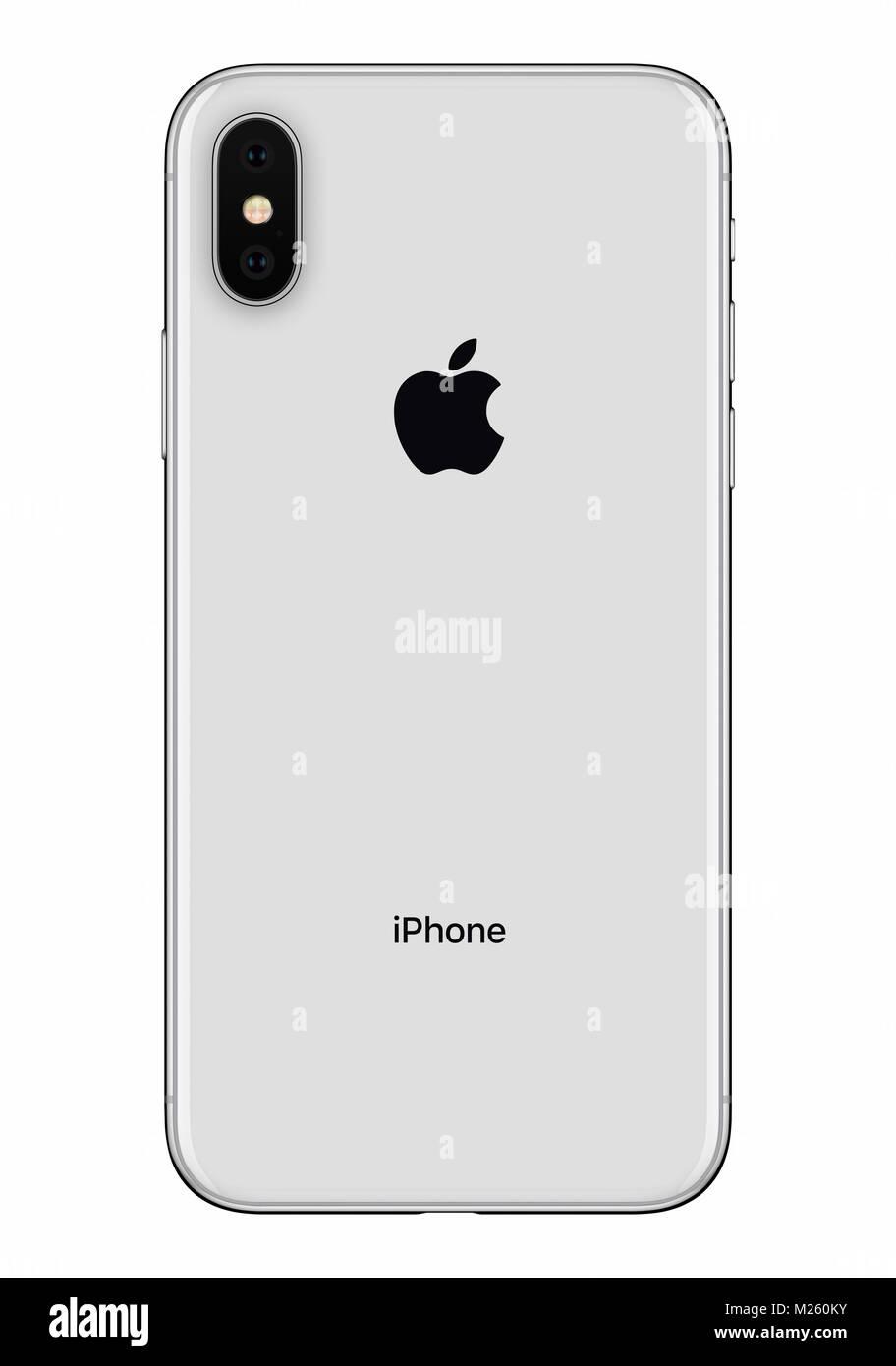 Argento Apple Iphone X Lato Posteriore Vista Frontale Isolato Su