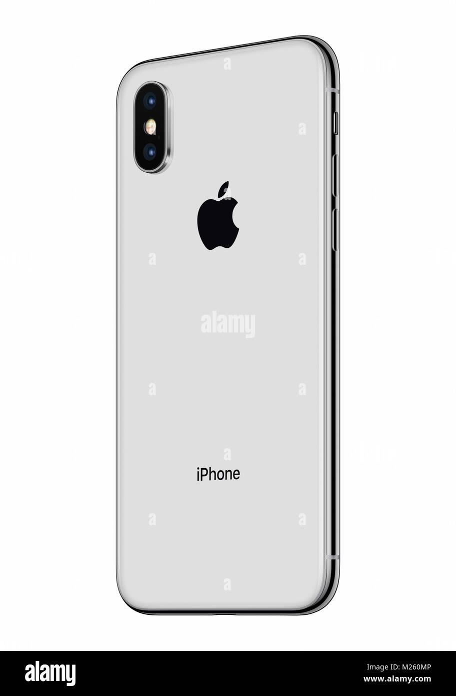 Argento Apple Iphone X Lato Posteriore Leggermente Ruotato Isolati