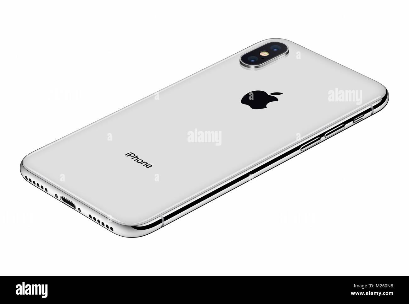 Vista Prospettica Silver Apple Iphone X Lato Posteriore Isolato Su