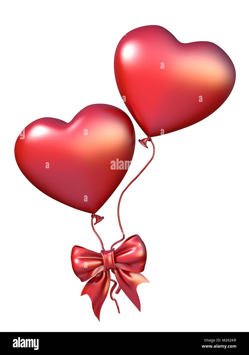 Due rosso a forma di cuore di palloncini con prua a nastro - Immagine con palloncini ...