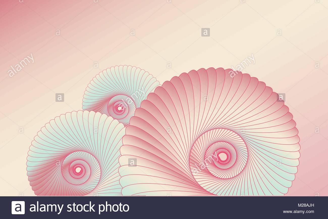 Lo Sfondo Della Scheda Con Le Lumache In Rosa E Sfumature Di Blu