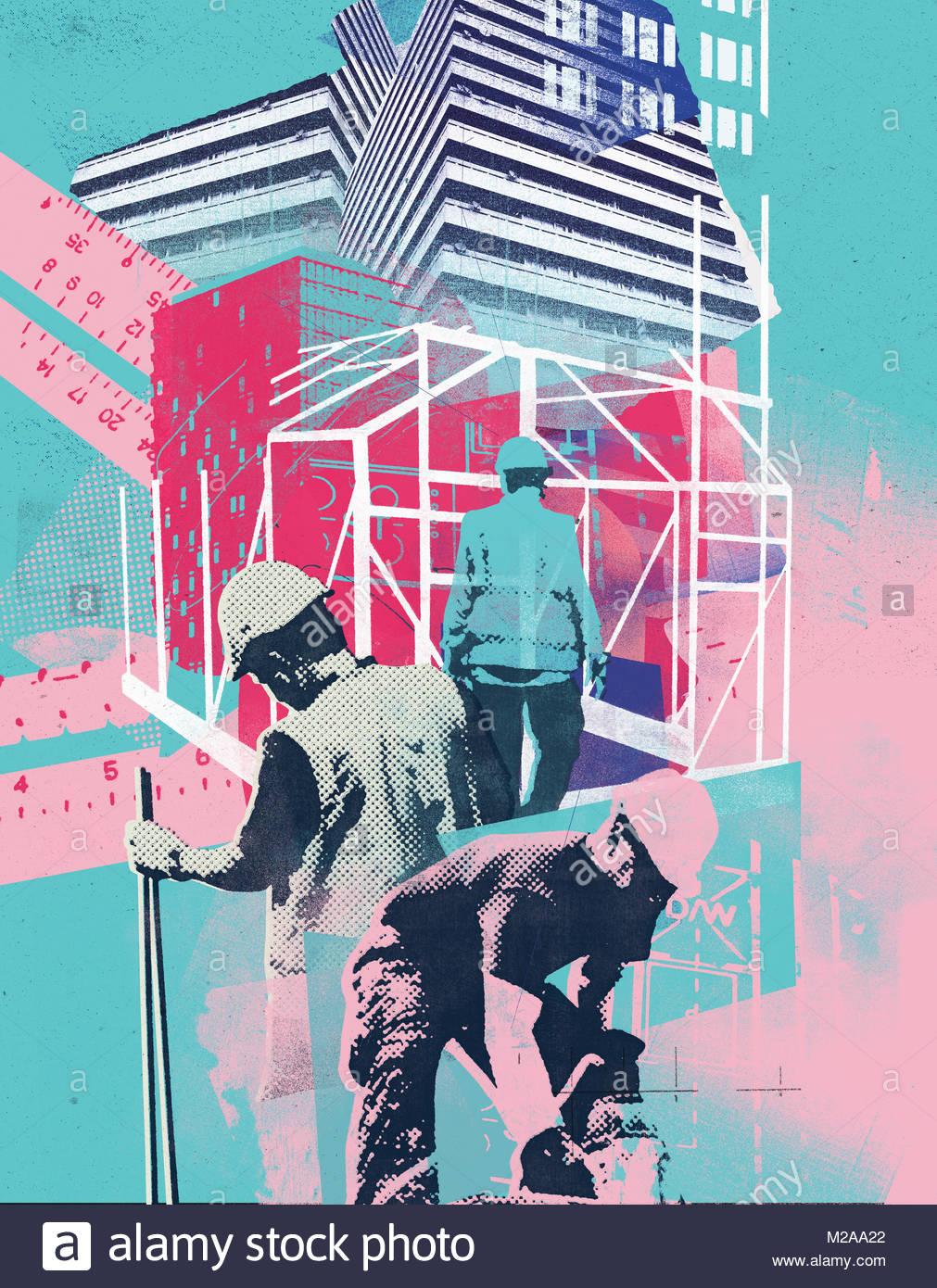 Collage di lavoratori edili lavorando sul sito di costruzione Immagini Stock