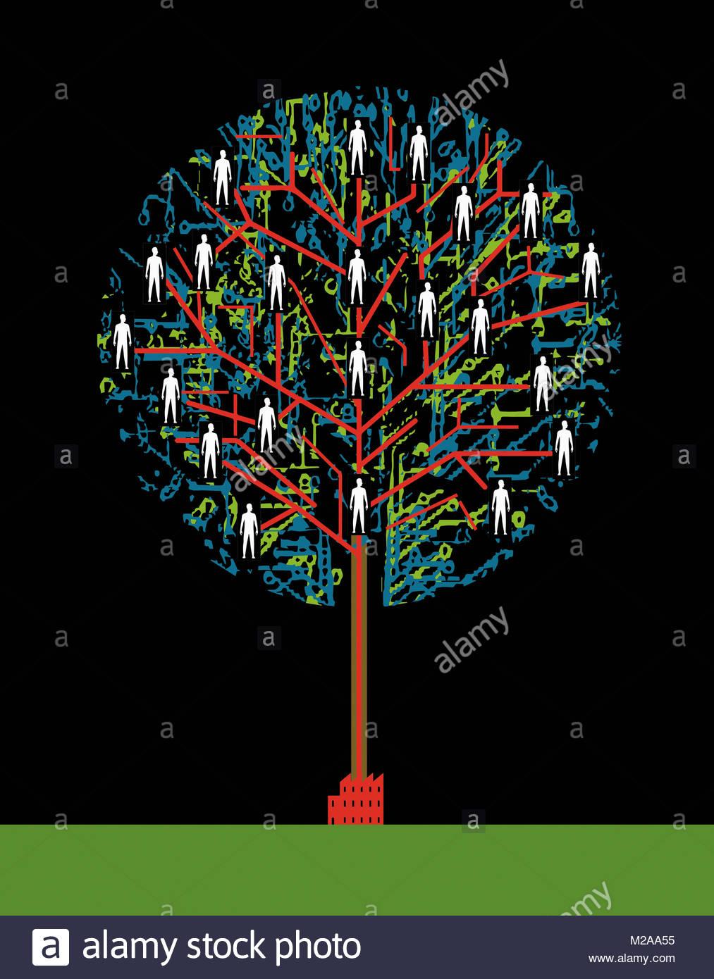 Persone collegate in rete albero che cresce dalla fabbrica Immagini Stock