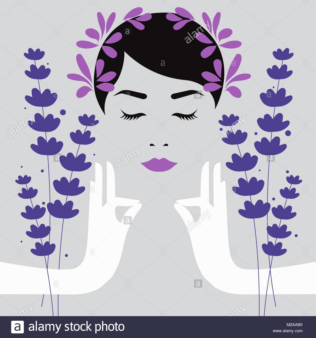 Donna meditando con aromaterapia lavanda Immagini Stock