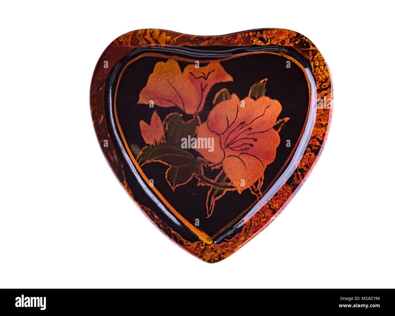 A forma di cuore lacuered, box, con decorazioni floreali. Immagini Stock