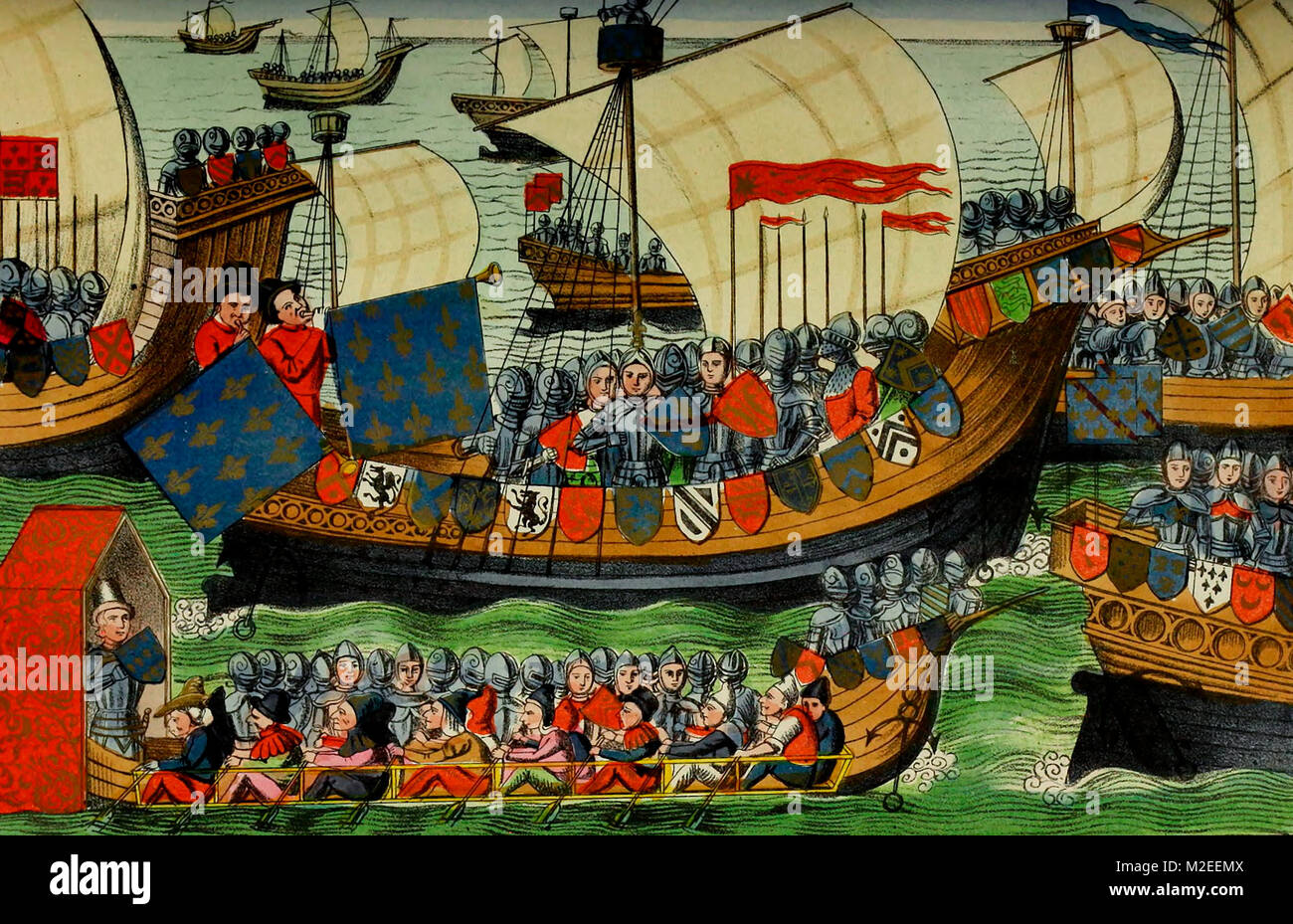 La spedizione del francese e inglese per la costa di Africa, a richiesta del genovese Immagini Stock